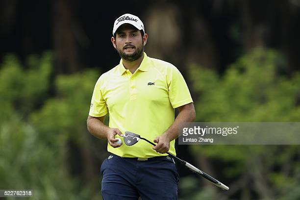 Alexander Levy of France plays a shot during the first round of the Shenzhen International at Genzon Golf Club on April 21 2016 in Shenzhen China