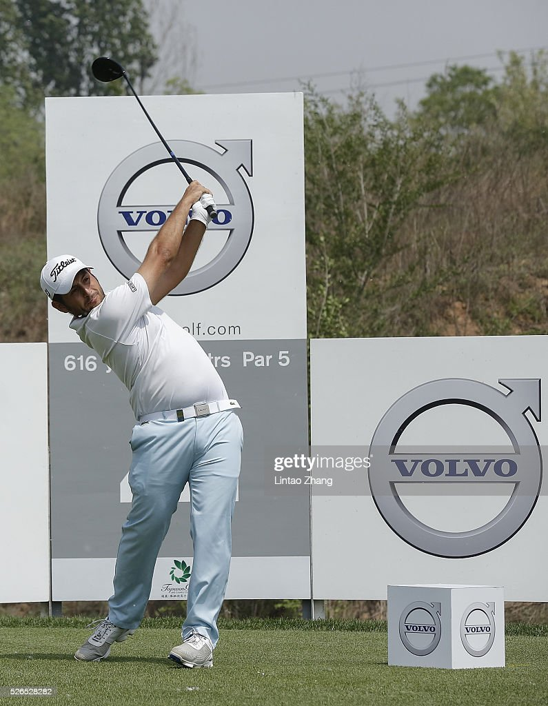 Alexander Levy of France plays a shot during the third round of the Volvo China open at Topwin Golf and Country Club on April 30, 2016 in Beijing, China. (Photo by Lintao Zhang/Getty Images)\