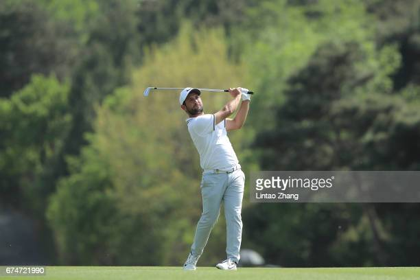 Alexander Levy of France plays a shot during the third round of the 2017 Volvo China open at Topwin Golf and Country Club on April 29 2017 in Beijing...