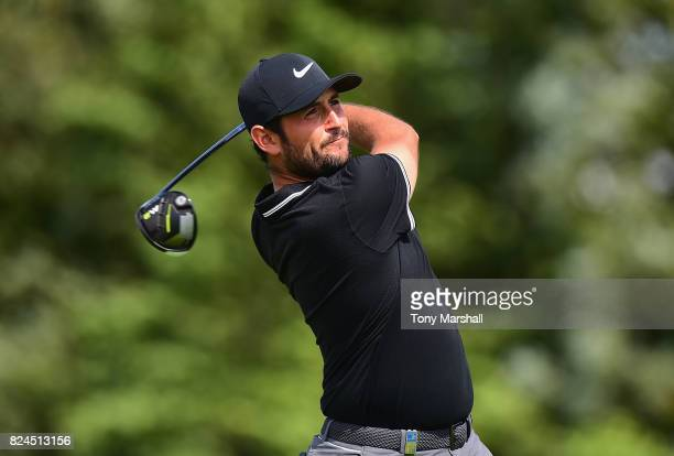 Alexander Levy of France plays his first shot on the 13th tee during the Porsche European Open Day Four at Green Eagle Golf Course on July 30 2017 in...