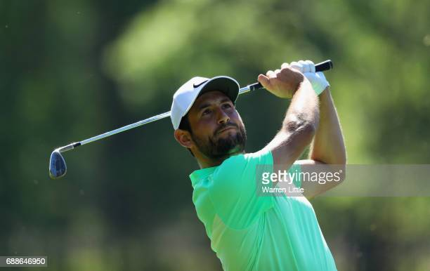 Alexander Levy of France plays his second shot on the 9th hole during day two of the BMW PGA Championship at Wentworth on May 26 2017 in Virginia...