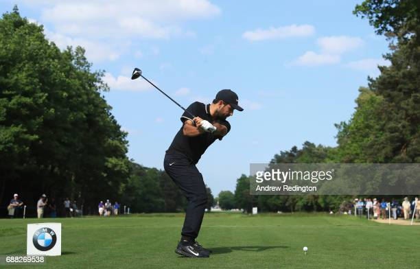 Alexander Levy of France tees off on the 15th hole during day one of the BMW PGA Championship at Wentworth on May 25 2017 in Virginia Water England