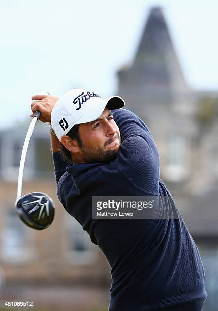 Alexander Levy of France tees off on the 2nd hole during the second round of the 144th Open Championship at The Old Course on July 17 2015 in St...