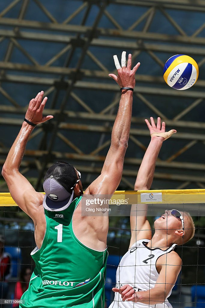 Alexander Likholetov of Russia (left) and Lukas Kazdailis of Lithuania duel at the net during FIVB Sochi Open presented by VTB - Day 1 on May 3, 2016 in Sochi, Russia.