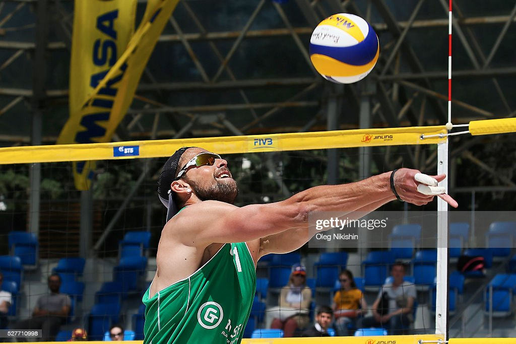 Alexander Likholetov of Russia receives a ball during FIVB Sochi Open presented by VTB - Day 1 on May 3, 2016 in Sochi, Russia.