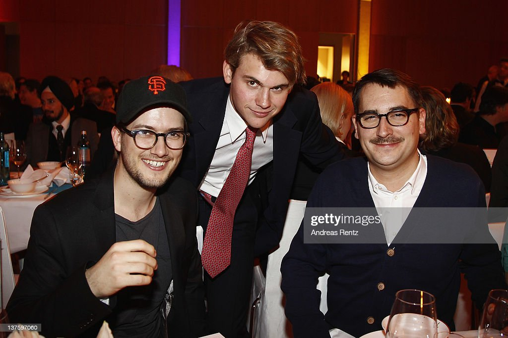 Alexander Ljung, Jacob Burda and Felix Petersen attend the Chairmen & Speaker Dinner during the DLD Conference 2012 at the Jewish Community Centre on January 22, 2012 in Munich, Germany.