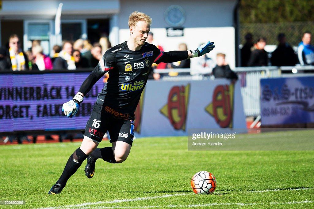 Alexander Lundin, goalkeeper of Falkenberg FF during the Allsvenskan match between Falkenbergs FF and IF Elfsborg at Falkenbergs IP on May 1, 2016 in Falkenberg, Sweden.