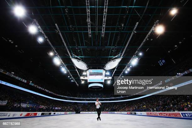 Alexander Majorov of Sweden competes in the Men's Free Skating during day four of the World Figure Skating Championships at Hartwall Arena on April 1...
