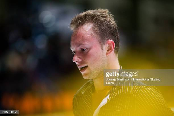 Alexander Majorov of Sweden looks on in the Men's Free Skating during the Nebelhorn Trophy 2017 at Eissportzentrum on September 29 2017 in Oberstdorf...