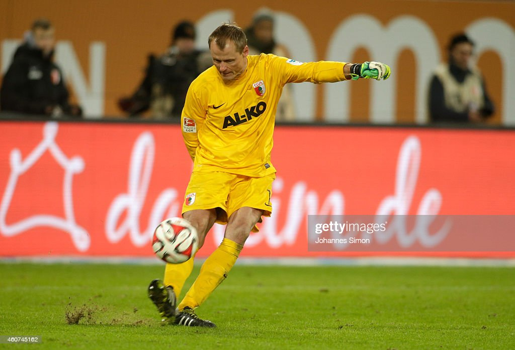 <a gi-track='captionPersonalityLinkClicked' href=/galleries/search?phrase=Alexander+Manninger&family=editorial&specificpeople=167082 ng-click='$event.stopPropagation()'>Alexander Manninger</a>, goalkeeper of Augsburg reacts during the Bundesliga match between FC Augsburg and Borussia Moenchengladbach at SGL Arena on December 20, 2014 in Augsburg, Germany.