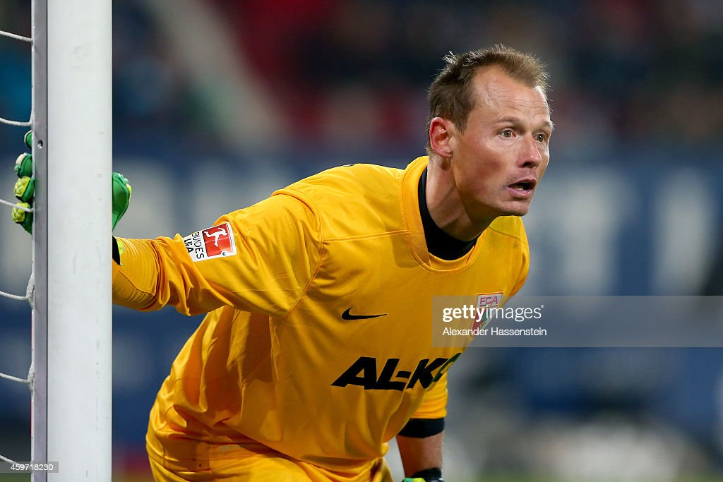 <a gi-track='captionPersonalityLinkClicked' href=/galleries/search?phrase=Alexander+Manninger&family=editorial&specificpeople=167082 ng-click='$event.stopPropagation()'>Alexander Manninger</a>, keeper of Augsburg reacts during the Bundesliga match between FC Augsburg and Hamburger SV at SGL Arena on November 29, 2014 in Augsburg, Germany.