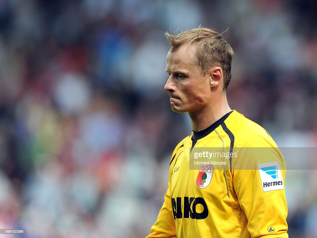 Alexander Manninger of Augsburg leaves the field at halftime during the Bundesliga match between SC Freiburg and FC Augsburg at MAGE SOLAR Stadium on May 5, 2013 in Freiburg, Germany.