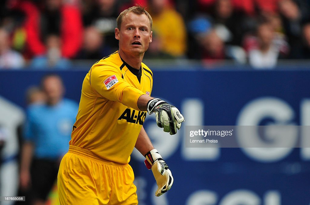 <a gi-track='captionPersonalityLinkClicked' href=/galleries/search?phrase=Alexander+Manninger&family=editorial&specificpeople=167082 ng-click='$event.stopPropagation()'>Alexander Manninger</a> of Augsburg reacts during the Bundesliga match between FC Augsburg and VfB Stuttgart at SGL Arena on April 27, 2013 in Augsburg, Germany.
