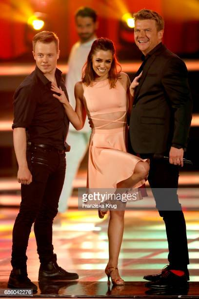 Alexander Martens Vanessa Mai and Bastiaan Ragas perform on stage at the tv show 'Willkommen bei Carmen Nebel' at Velodrom on May 20 2017 in Berlin...