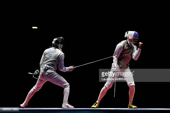 Alexander Massialas of the United States celebrates against Daniele Garozzo of Italy during the Men's Foil Team Bronze Medal Match bout on Day 7 of...