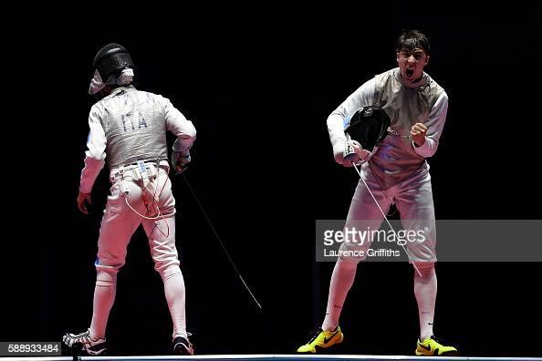 Alexander Massialas of the United States celebrates against Giorgio Avola of Italy during the Men's Foil Team Bronze Medal Match bout on Day 7 of the...