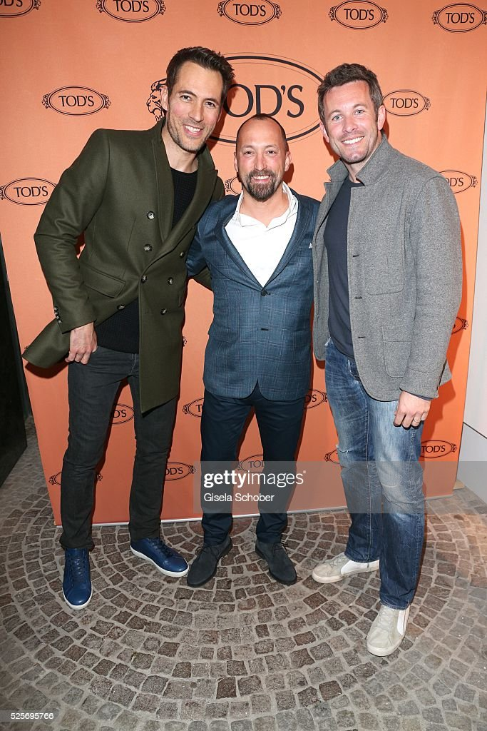 Alexander Mazza, Cristiano Mazza, Store Director Tod's store Munich, and Jan Hartmann during the TOD'S 'The art of leather' party on April 28, 2016 in Munich, Germany.