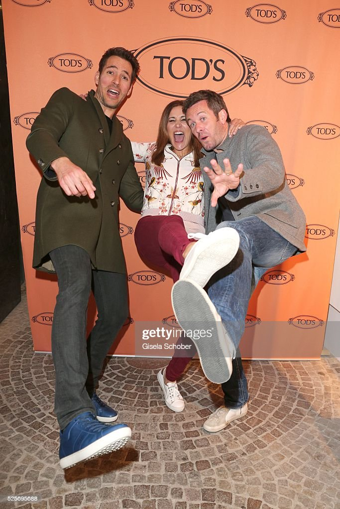 Alexander Mazza, Karen Webb and Jan Hartmann during the TOD'S 'The art of leather' party on April 28, 2016 in Munich, Germany.