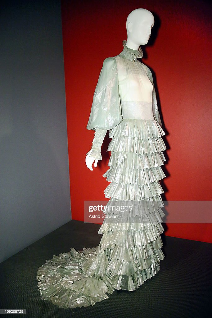 Alexander McQueen for Givenchy Haute Couture, evening dress, painted silk chiffon, Fall/Winter 1999 is displayed at the RetroSpective Press Preview at The Museum at FIT on May 22, 2013 in New York City.
