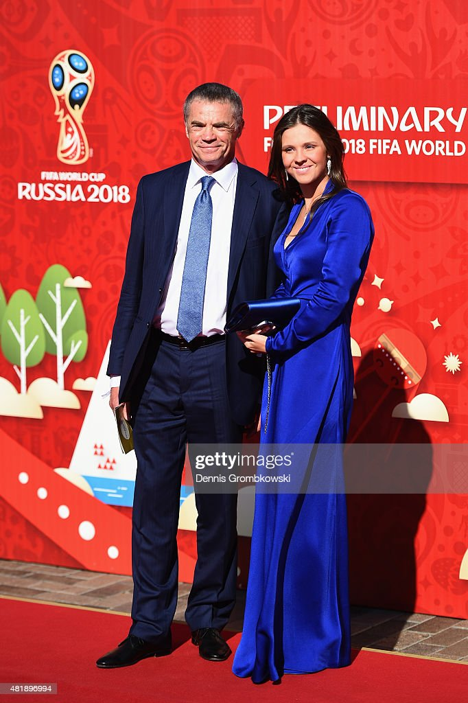 <a gi-track='captionPersonalityLinkClicked' href=/galleries/search?phrase=Alexander+Medvedev&family=editorial&specificpeople=671477 ng-click='$event.stopPropagation()'>Alexander Medvedev</a> (L) attends the Preliminary Draw of the 2018 FIFA World Cup in Russia at The Konstantin Palace on July 25, 2015 in Saint Petersburg, Russia.