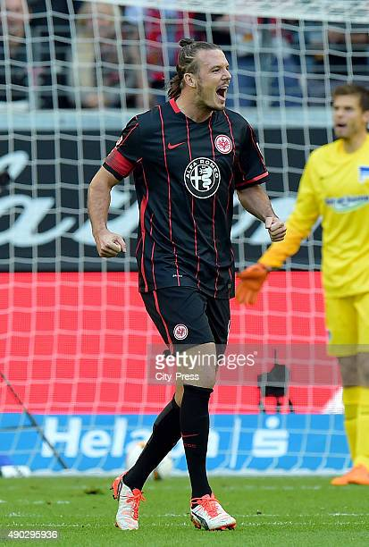 Alexander Meier of Eintracht Frankfurt celebrates after scoring the 10 during the game between Eintracht Frankfurt and Hertha BSC on September 27...