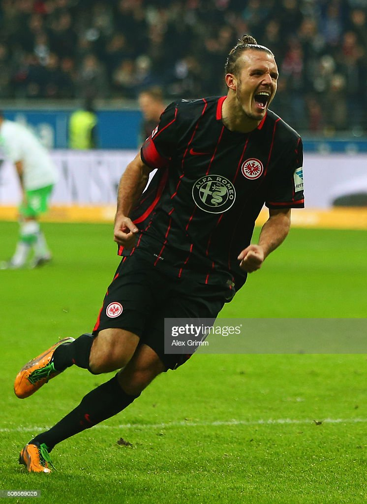 <a gi-track='captionPersonalityLinkClicked' href=/galleries/search?phrase=Alexander+Meier&family=editorial&specificpeople=615512 ng-click='$event.stopPropagation()'>Alexander Meier</a> of Eintracht Frankfurt celebrates as he scores their second goal during the Bundesliga match between Eintracht Frankfurt and VfL Wolfsburg at Commerzbank-Arena on January 24, 2016 in Frankfurt am Main, Germany.
