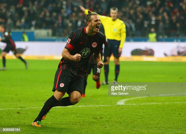 Alexander Meier of Eintracht Frankfurt celebrates as he scores their second goal during the Bundesliga match between Eintracht Frankfurt and VfL...