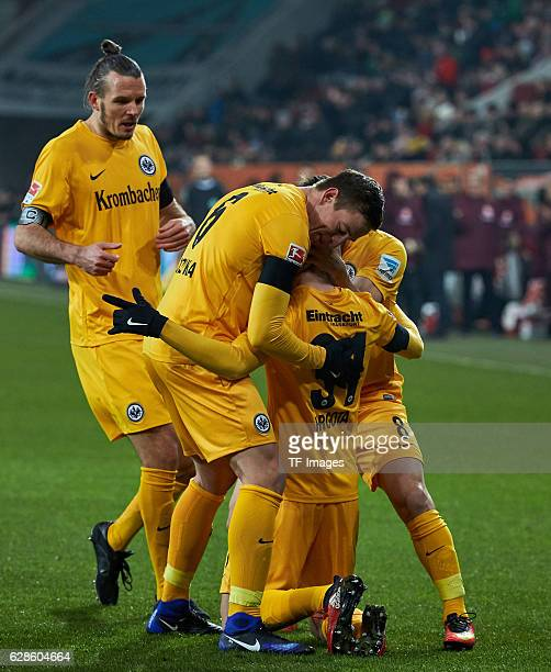 Alexander Meier of Frankfurt celebrates after scoring during the Bundesliga match between FC Augsburg and Eintracht Frankfurt at WWK Arena on...