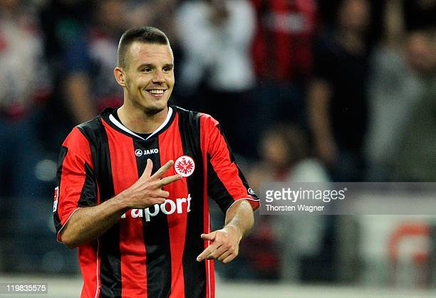 Alexander Meier of Frankfurt celebrates after scoring his teams first goal during the Second Bundesliga match between Eintracht Frankfurt and FC St...