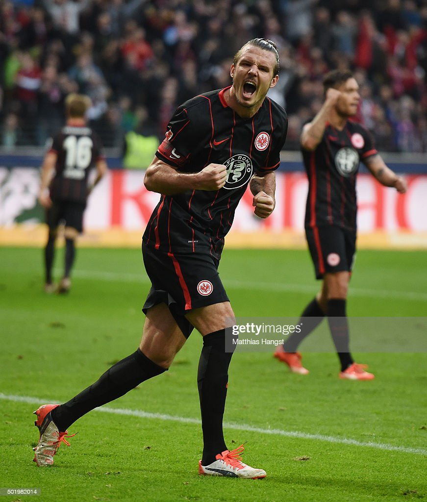<a gi-track='captionPersonalityLinkClicked' href=/galleries/search?phrase=Alexander+Meier&family=editorial&specificpeople=615512 ng-click='$event.stopPropagation()'>Alexander Meier</a> of Frankfurt celebrates after scoring his team's first goal during the Bundesliga match between Eintracht Frankfurt and Werder Bremen at Commerzbank-Arena on December 19, 2015 in Frankfurt am Main, Germany.
