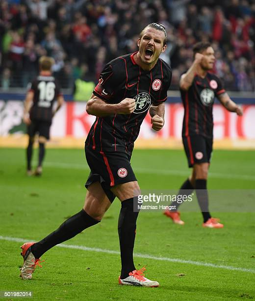 Alexander Meier of Frankfurt celebrates after scoring his team's first goal during the Bundesliga match between Eintracht Frankfurt and Werder Bremen...