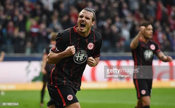Alexander Meier of Frankfurt celebrates after scoring his team's first goal during the Bundesliga match between Eintracht Frankfurt and Werder Bremen...