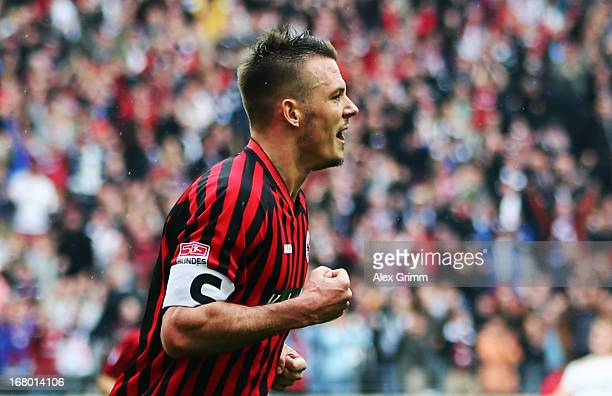 Alexander Meier of Frankfurt celebrates his team's first goal during the Bundesliga match between Eintracht Frankfurt and Fortuna Duesseldorf 1895 at...