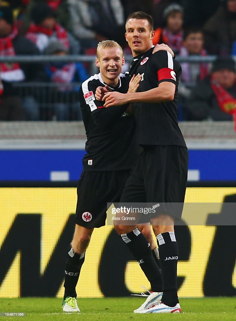 <a gi-track='captionPersonalityLinkClicked' href=/galleries/search?phrase=Alexander+Meier&family=editorial&specificpeople=615512 ng-click='$event.stopPropagation()'>Alexander Meier</a> (R) of Frankfurt celebrates his team's first goal with team mate Sebastian Rode during the Bundesliga match between VfB Stuttgart and Eintracht Frankfurt at Mercedes-Benz Arena on October 28, 2012 in Stuttgart, Germany.