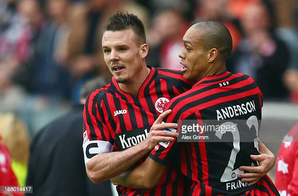 Alexander Meier of Frankfurt celebrates his team's first goal with team mate Bamba Anderson during the Bundesliga match between Eintracht Frankfurt...