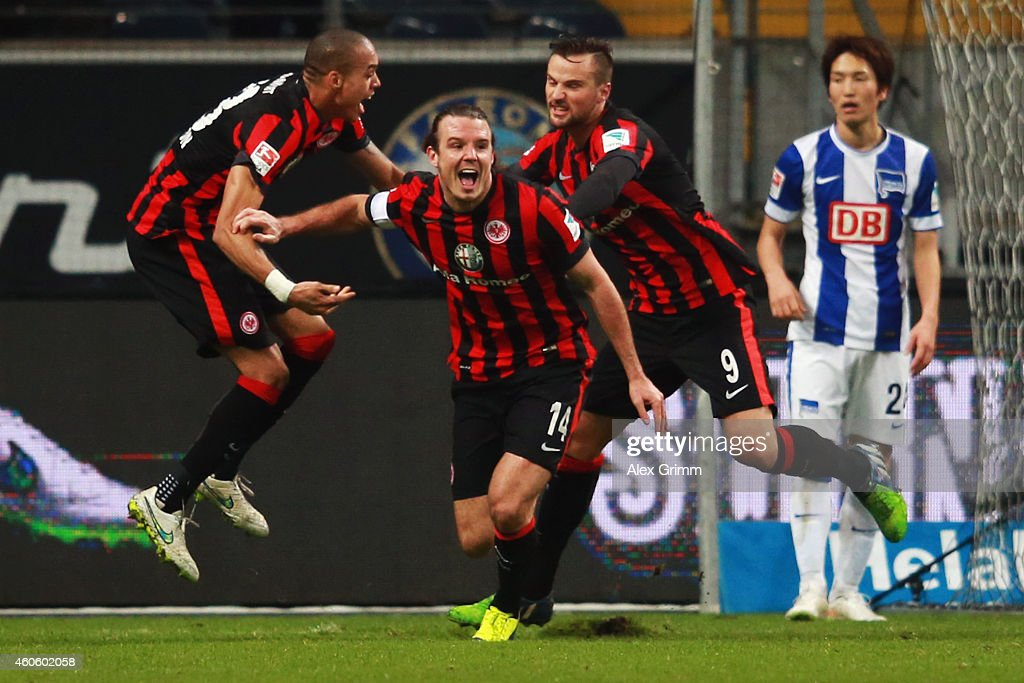 <a gi-track='captionPersonalityLinkClicked' href=/galleries/search?phrase=Alexander+Meier&family=editorial&specificpeople=615512 ng-click='$event.stopPropagation()'>Alexander Meier</a> (C) of Frankfurt celebrates his team's fourth goal with team mates Bamba Anderson (L) and Haris Seferovic during the Bundesliga match between Eintracht Frankfurt and Hertha BSC at Commerzbank-Arena on December 17, 2014 in Frankfurt am Main, Germany.