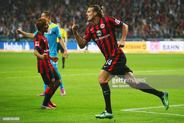 Alexander Meier of Frankfurt celebrates his team's second goal during the Bundesliga match between Eintracht Frankfurt and 1 FC Koeln at...