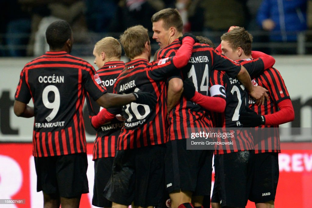 <a gi-track='captionPersonalityLinkClicked' href=/galleries/search?phrase=Alexander+Meier&family=editorial&specificpeople=615512 ng-click='$event.stopPropagation()'>Alexander Meier</a> of Frankfurt celebrates with teammates after heading his team's first goal during the Bundesliga match between Eintracht Frankfurt and SV Werder Bremen at Commerzbank-Arena on December 8, 2012 in Frankfurt am Main, Germany.