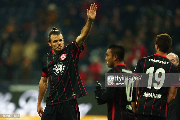 Alexander Meier of Frankfurt celebrates with the fans after the Bundesliga match between Eintracht Frankfurt and VfL Wolfsburg at CommerzbankArena on...