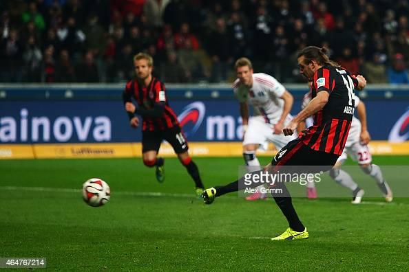 Alexander Meier of Frankfurt scores his team's first goal with a penalty during the Bundesliga match between Eintracht Frankfurt and Hamburger SV at...