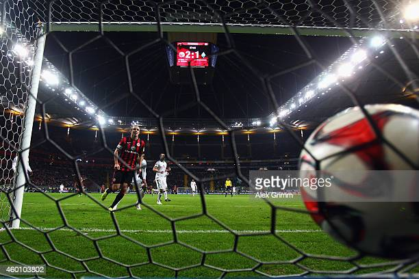 Alexander Meier of Frankfurt scores his team's third goal during the Bundesliga match between Eintracht Frankfurt and SV Werder Bremen at...