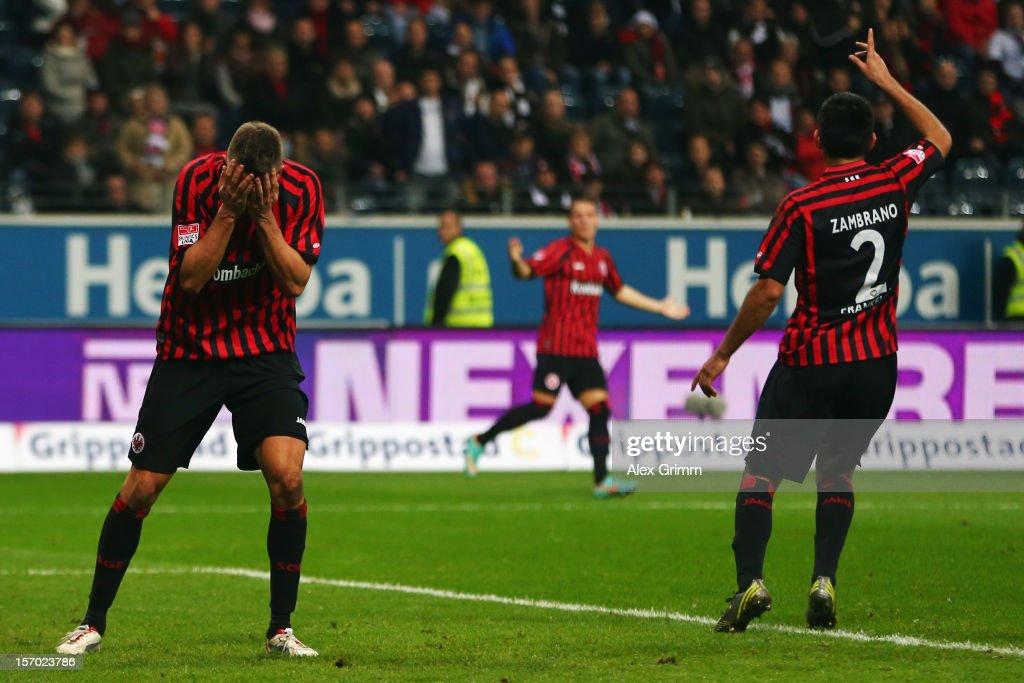 Alexander Meier Stefano Celozzi and Carlos Zambrano of Frankfurt react during the Bundesliga match between Eintracht Frankfurt and 1 FSV Mainz 05 at...