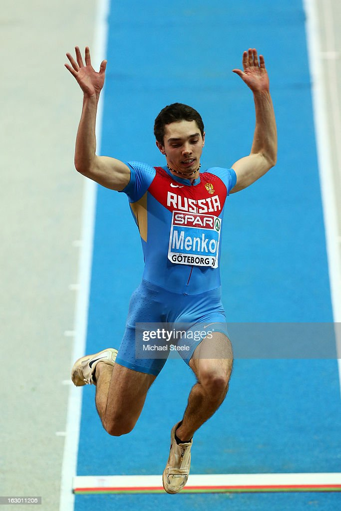 Alexander Menkov of Russia competes in the Men's Long Jump Final during day three of European Indoor Athletics at Scandinavium on March 3, 2013 in Gothenburg, Sweden.
