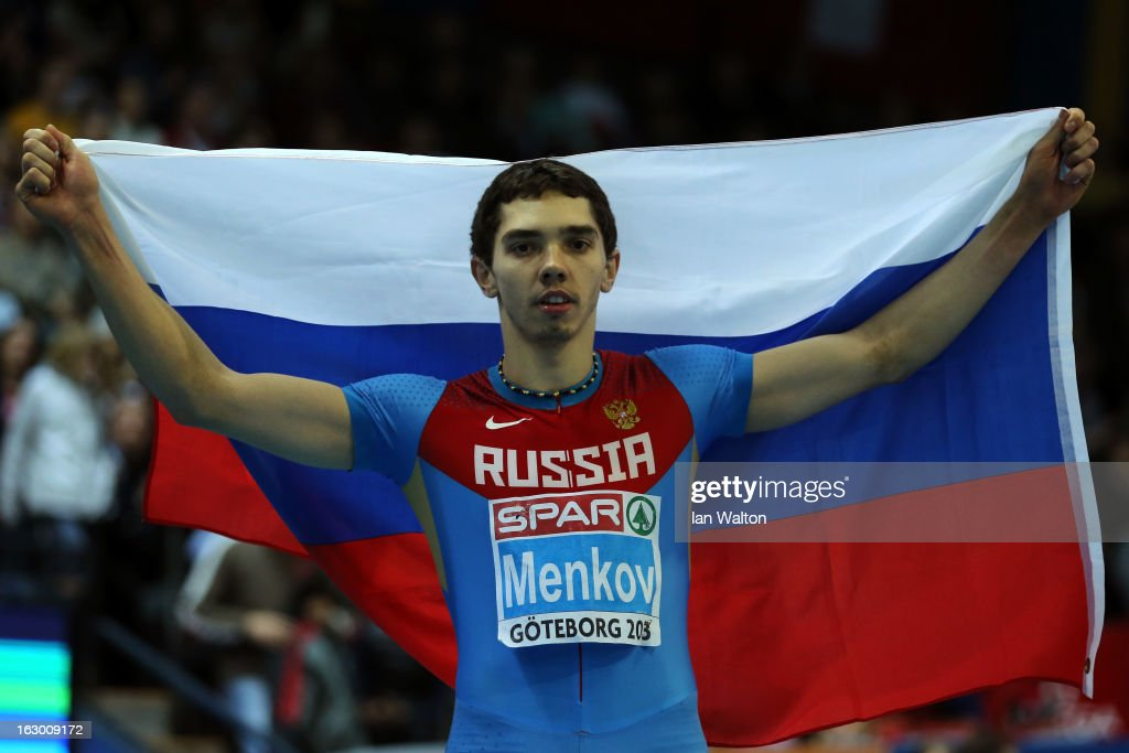 Alexander Menkov of Russia wins gold in the Men's Long Jump Final during day three of European Indoor Athletics at Scandinavium on March 3, 2013 in Gothenburg, Sweden.