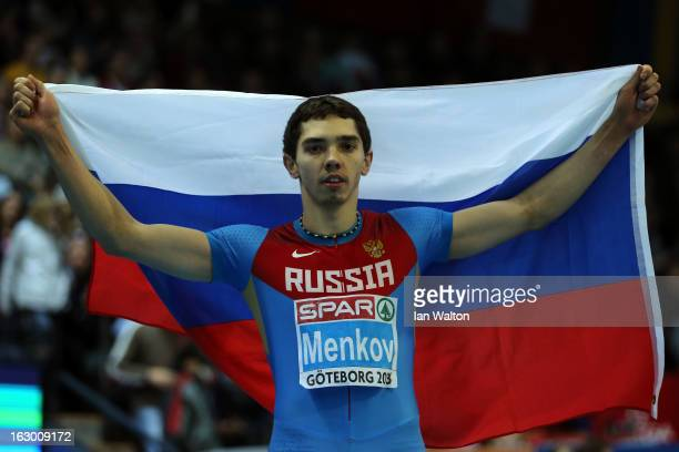Alexander Menkov of Russia wins gold in the Men's Long Jump Final during day three of European Indoor Athletics at Scandinavium on March 3 2013 in...