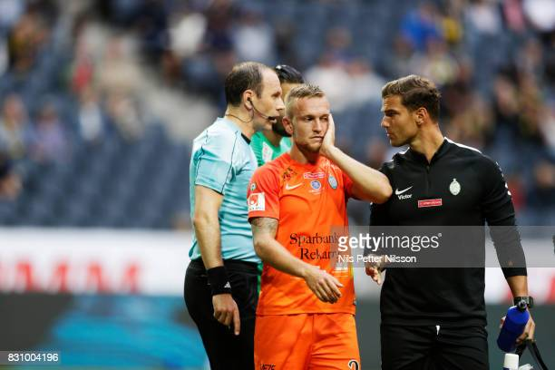 Alexander Michel of Athletic FC Eskilstuna injured during the Allsvenskan match between AIK and Athletic FC Eskilstura at Friends arena on August 13...