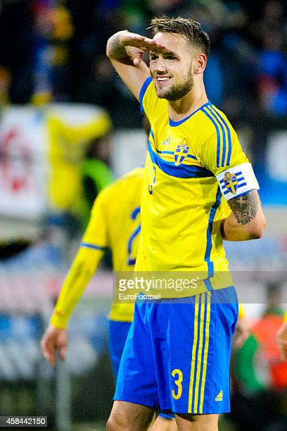 Alexander Milosevic of Sweden celebrates after the the UEFA Under21 Championship qualifying match between Sweden and France in Orjans Vall Stadium on...