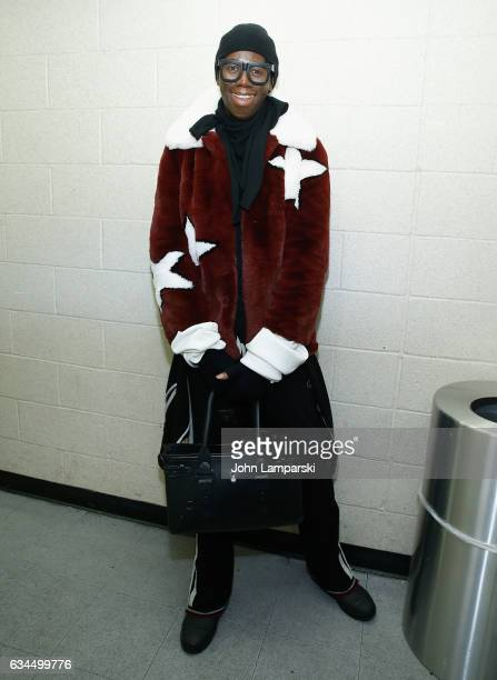 J Alexander MissJ attends backstage during the Popoganda By Richie Rich during New York Fashion Week at The Theater at Madison Square Garden on...