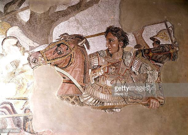 Alexander mosaic Detail of the battle of Arbeles between Darius and Alexander the Great Antiquity Roman art Naples national museum
