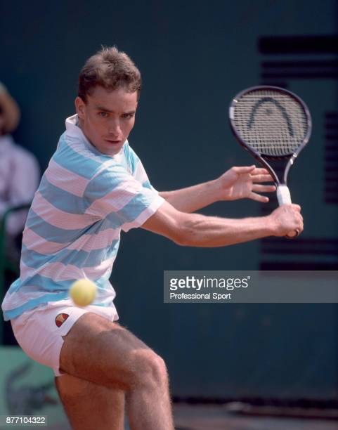 Alexander Mronz of Germany in action against Andres Vosand of the Soviet Union during their First Round match in the French Open Tennis Championships...